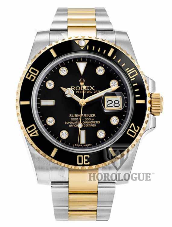 Black submariner with diamonds on dial