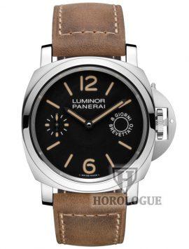 Black Dial Tan Leather Strap Luminor Marina Watch