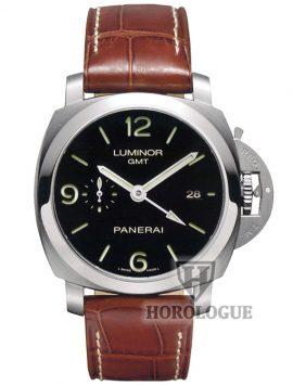 Steel bezel, black dial panerai Luminor 1950 model with GMT hand